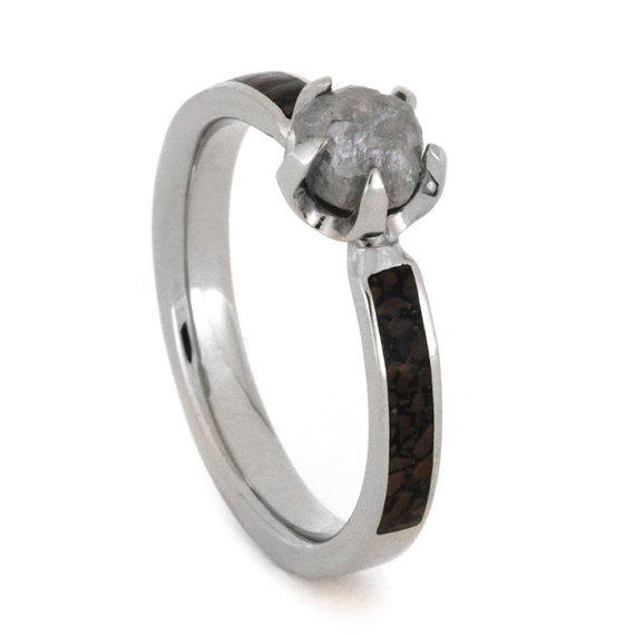 Свадьба - Palladium Engagement Ring With Partial Dinosaur Bone Inlays and a Rough Diamond Stone, 1 ct. Diamond Ring