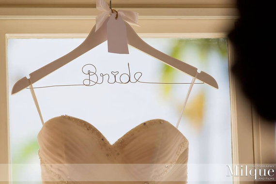 Mariage - SALE Personalised Wedding Dress Hanger with Flower or Bow