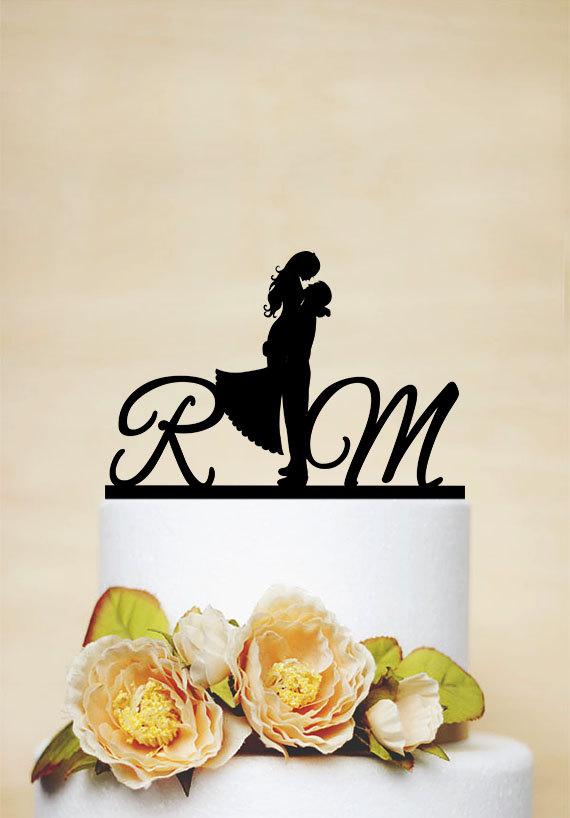 Mariage - Wedding Cake Topper,Initial Cake Topper, Personalized Cake Topper, Acrylic Custom Cake Topper,elegant wedding topper -I008