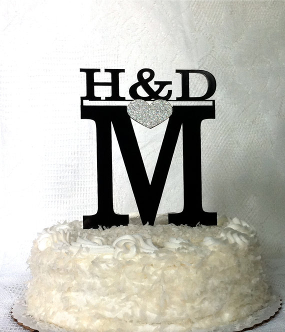 Wedding - MONOGRAM Wedding Cake Topper with Personalized Couples Initial MONOGRAMMED Wedding Cake Topper Glitter Heart