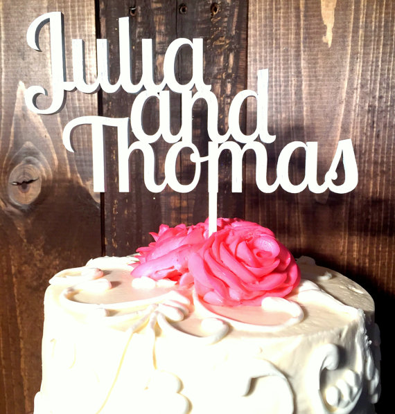 Hochzeit - First Names CUSTOMIZED Personalized Wedding Cake Topper Wood