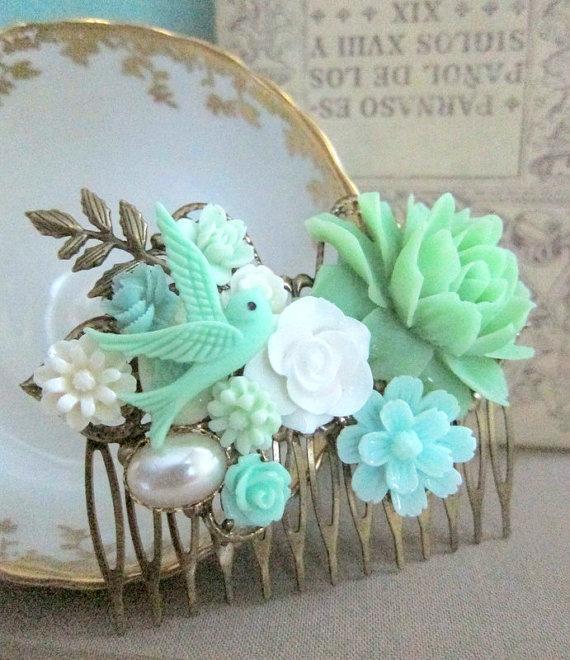 mint green hair comb mint wedding floral headpiece bridal bridesmaids flower comb woodland rustic romantic big rose white aqua statement wr