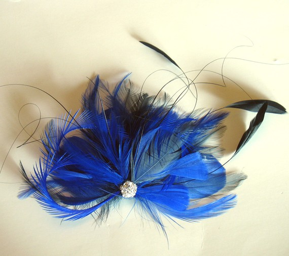Wedding - Cobalt and royal blue bridal feather fascinator - wedding feather hairclip
