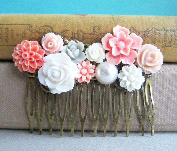 Wedding - Pink Wedding Hair Comb Peach Blush Bridesmaid Gift Pastel Bridal Flower Comb Floral Head Piece Soft Dreamy Vintage Inspired Bohemian