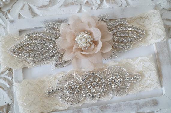 Rustic Garter Set Ivory Wedding Garter Set Lace Bridal Garter