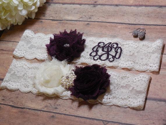 Свадьба - Eggplant Garter, Monogrammed Garter, Monogram, Personalized garter, Custom Garter, Purple Garter, Garter, Wedding, Bride, Bridal, Initials