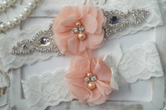 Свадьба - Wedding Garter Set, Bridal Garter Set, Vintage Wedding, Lace Garter, Peach Garter Set, White Bridal Garter - Style 150
