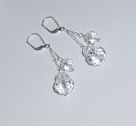 Свадьба - Swarovski Crystal Bridal Earrings Sterling Silver Chain Dangle Leverback