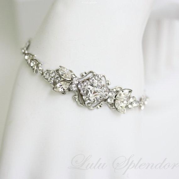 Свадьба - art deco wedding bracelet delicate rhinestone bridal bracelet filigree cuff KATRINA CRYSTAL