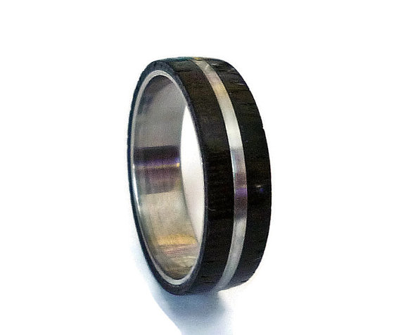 Свадьба - Wood mens ring wenge wood and stainless steel ring unisex ring