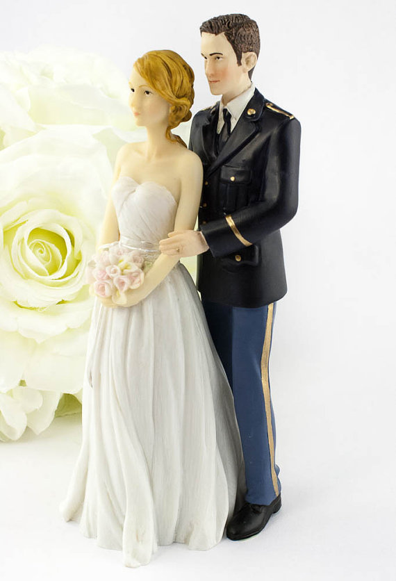wedding army wedding cake topper caucasian bride and groom
