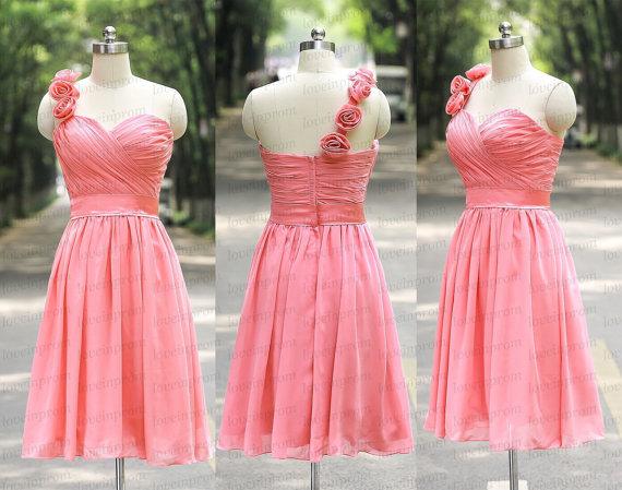 Wedding - One Shoulder Pink Bridesmaid Dress Handmade Pleat Chiffon Min Pink Wedding Party Gowns Short Pink Prom Dresses