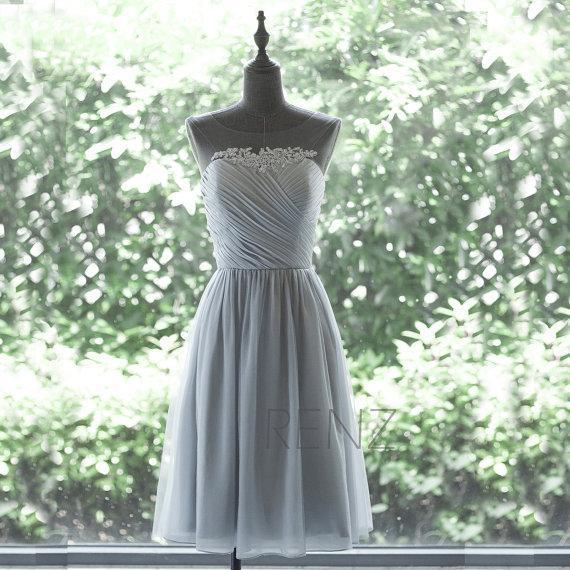 Wedding - 2015 Chiffon Bridesmaid Dress, Grey Cocktail Dress, Mesh Scoop Neck dress, Short Prom Dress, Lace Formal Dress tea Length (F265)-Renzrags