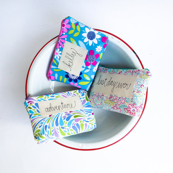 Свадьба - Personalized Cosmetic Bags, Set of 3 Bridesmaid Gifts, Custom Made Gift Set for Bridal Party in you Choice of Colors MADE TO ORDER