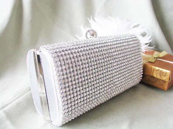 Mariage - Rich Silver Satin Fabric Wedding Bag Clutch Formal Evening Bag with  Austrian Crystals