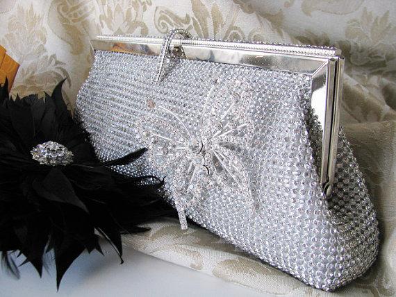 Hochzeit - Rich Silver Satin Fabric Wedding Bag Clutch Formal Evening Bag covered Austrian Crystals