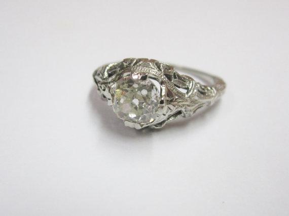 Wedding - Vintage European Cut Diamond Engagement Ring