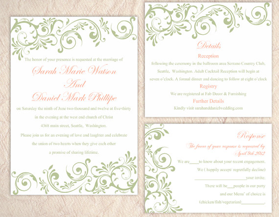 Printable Wedding Invitation Sets: DIY Wedding Invitation Template Set Editable Word File