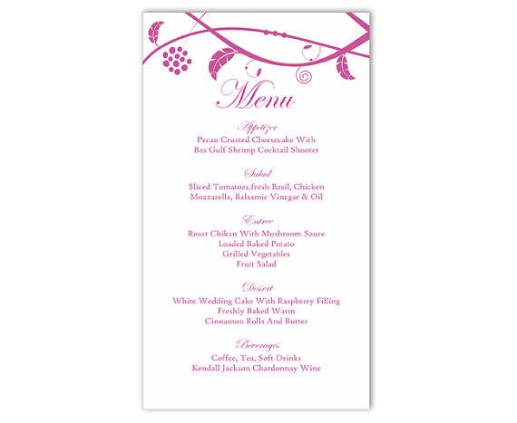 Souvent Wedding Menu Template DIY Menu Card Template Editable Text Word  CQ64