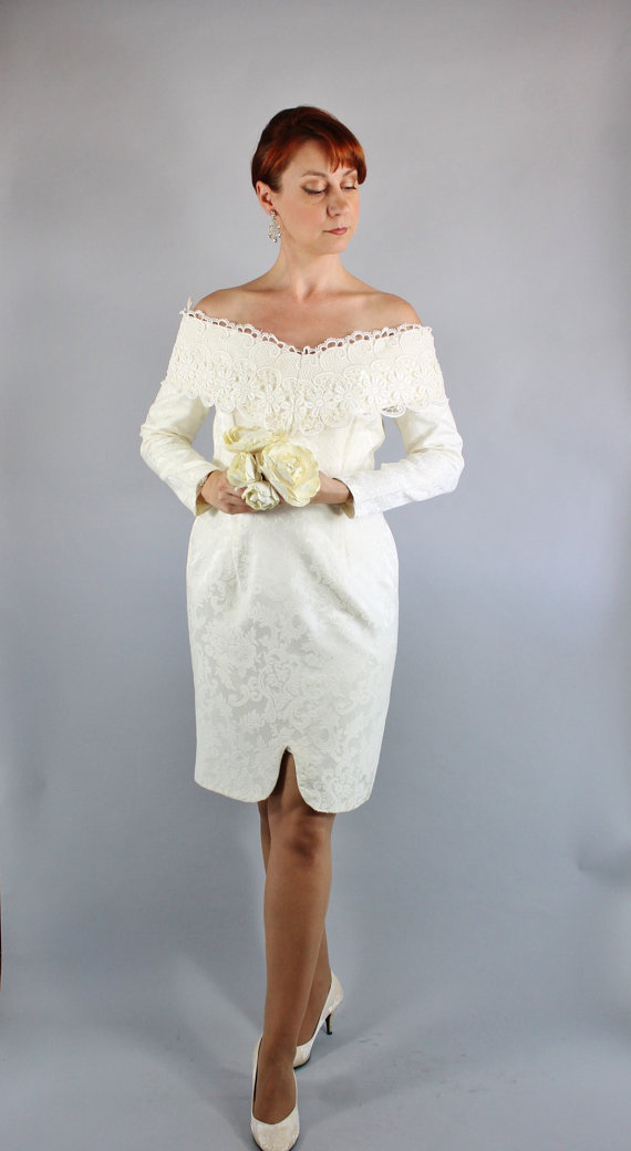 Vintage 80s Cream Venetian Lace Scott Mcclintock Brocade Long Sleeved Short Wedding Dress Courthouse Alternative Bridal