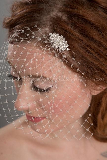 Mariage - Ivory French Net Mini Bridal Birdcage Veil, Bridal Rhinestone Comb, Wedding Birdcage Veil and Fascinator