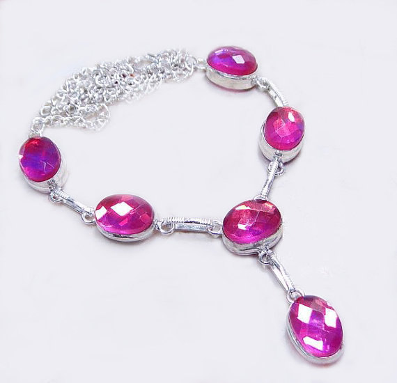 Свадьба - Beautiful Hot Pink Mystic Topaz Necklace, 925 Silver Overlay