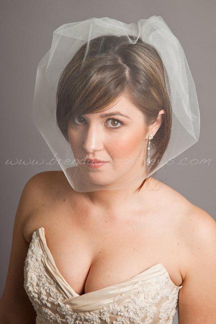 Wedding - Tulle 17 Inch Bridal Birdcage Veil, Tulle Birdcage Blusher Veil