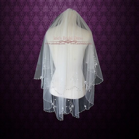 Mariage - Two Tier Fingertip Length Wedding Bridal Veil With Sparkly Beadings