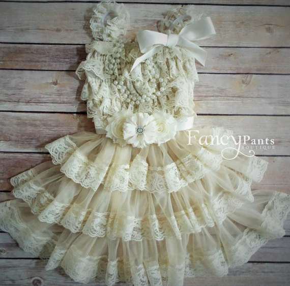 Mariage - Lace Flower Girl Dress, Lace Toddler Dress, Ivory Lace Dress, Rustic Flower Girl, Country Flower Girl, Shabby Chic , Vintage dress, beige
