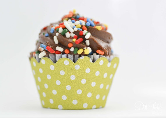 Mariage - MINI Celadon Lime Green & Silver Glitter Polka-Dot Cupcake Wrappers - Mini Cupcake Wraps Set of 24