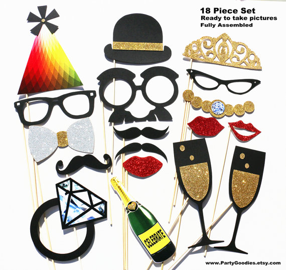 Mariage - Photobooth Props - Photo Booth Props 18 Piece GLITTER Set - Wedding Party Photo Props