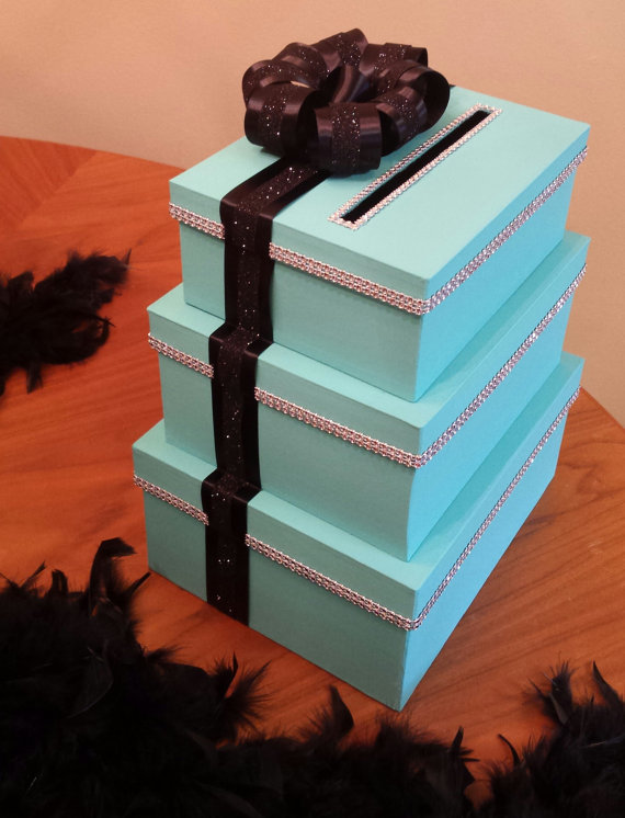 Mariage - Card box three tier large rectangle set perfect for a wedding baby shower bridal shower or birthday party