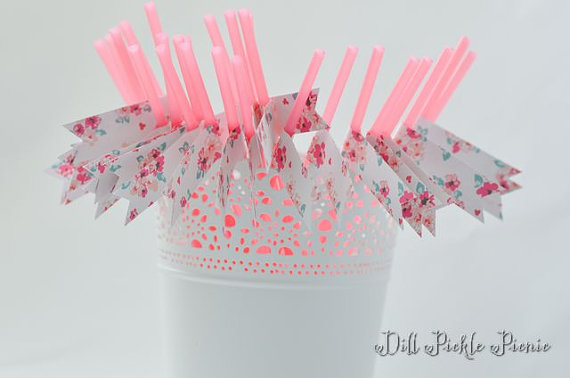 Mariage - Romantic Pink Floral Party Straws - 25 count - bridal baby shower, 1st  birthday