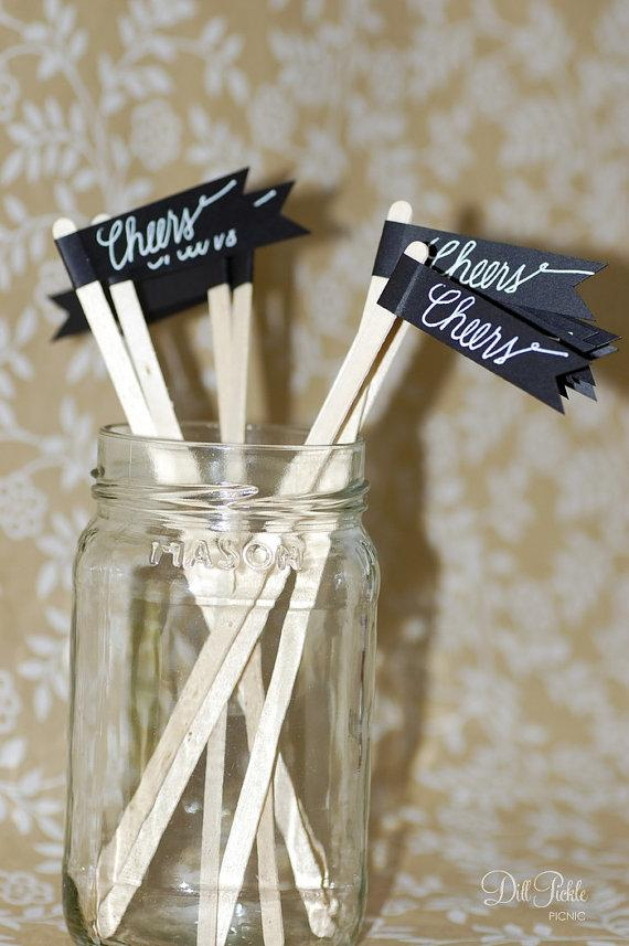 Mariage - 50 Black Paper Flag Stir Sticks or Drink Stirrers with White Calligraphy