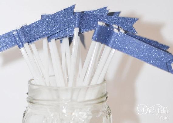 Mariage - 25 Dark Ocean Blue Glitter Paper Flag Stir Sticks or Drink Stirrers - Cornflower