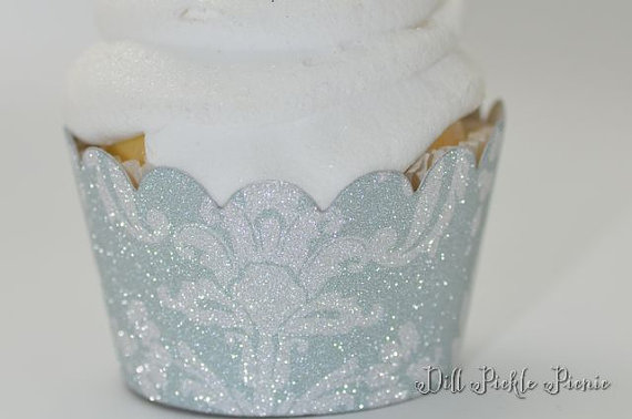 Mariage - Light Blue and Silver Damask Glitter Cupcake Wrappers - Standard Cupcake Wraps Set of 24