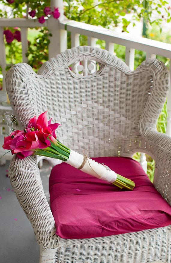 Свадьба - Bridal Bouquet Shabby Chic Burlap and Lace Wrap with Fleur De Lis Charm Wedding Flowers Bride Rustic