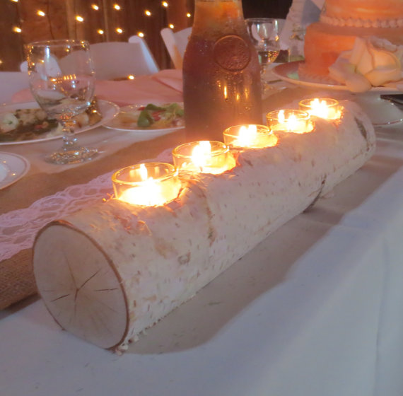 Birch Log Votive Light Candle Holder Wedding Home Decor Table Centerpiece Wood Reception Holiday