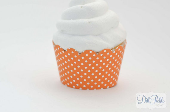 Свадьба - Orange and White Polka dot Cupcake Wrappers -  Set of 24 - Standard Size