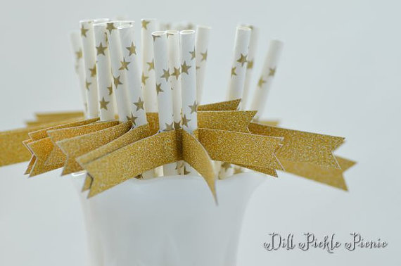 Wedding - Gold Star Paper Straws with Gold Glitter Flags - 25 count