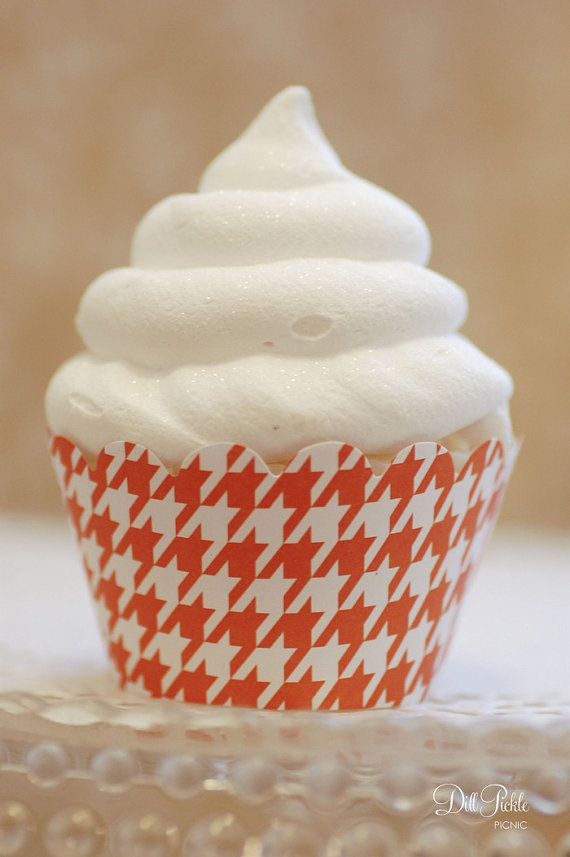 Mariage - Tangerine Orange & White Houndstooth Cupcake Wrappers - Standard Cupcake Wraps Set of 24