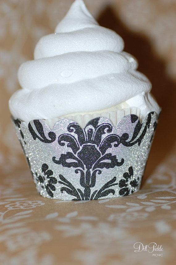 Mariage - Black & Silver Glitter Damask Cupcake Wrappers - Set of 24 - Standard or Mini