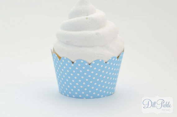 Mariage - Aqua Blue and White Polka dot Cupcake Wrappers -  Set of 24 - Standard Size