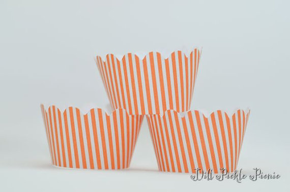 Mariage - Orange and White Stripe Mini Cupcake Wraps - Set of 24