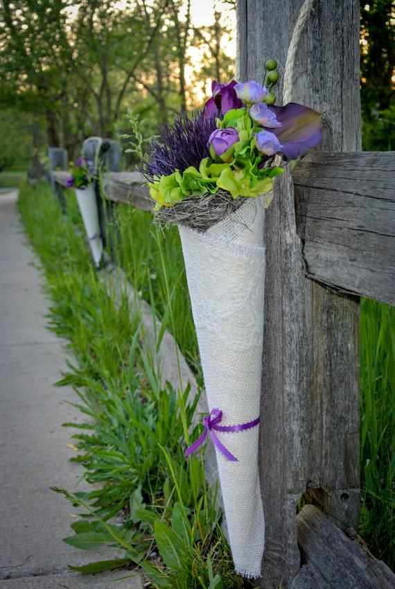 Mariage - Burlap and Lace Flower Cone Decor with Purple and Lime Green Life-Like Flowers for Aisles, Pews, Chairs Wedding Decor