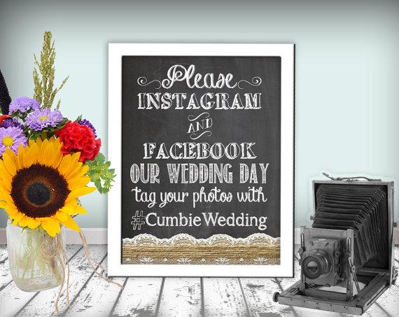 Hochzeit - Instagram Facebook Wedding Sign Chalkboard Printable 8x10 PDF DIY Burlap & Lace Rustic Shabby Chic Woodland