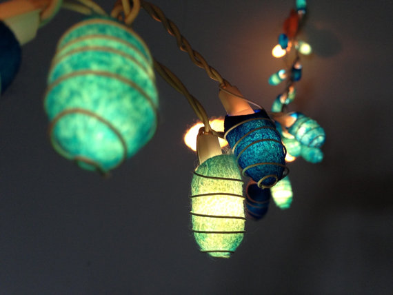 Mariage - 35 bulbs - Handmade Ocean Blue Cocoon  string lights for Patio,Wedding,Party and Decoration