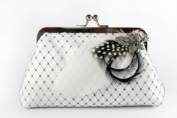Mariage - Bridal Clutch with Black and White Rhinestone Feather Brooch 8-inch