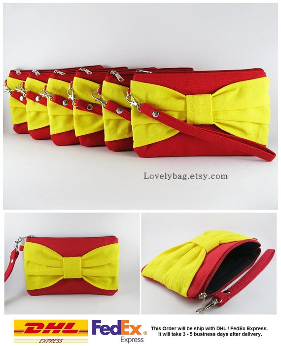 Hochzeit - Set of 9 Wedding Clutches, Bridesmaids Clutches / Red with Yellow Bow Clutches - MADE TO ORDER