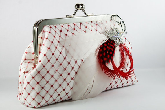 Hochzeit - Bridal Clutch with Red and White Feathery Brooch 8-inch PASSION